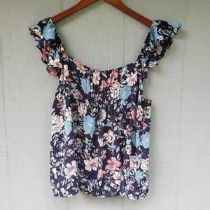 Leith Pintuck Front Floral Tank Ruffle Straps Med